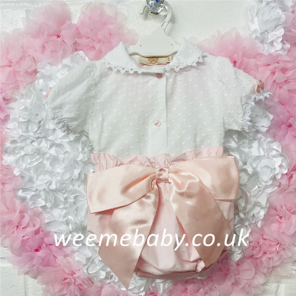 Cararmelo New Baby Girl Blouse and Pink Stripe Pants Set Big Bow